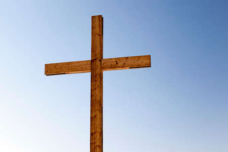 ligneous: wooden crosses, located in the countryside. Christianity Stock Photo