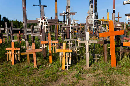 rood: photographed close-up wooden crosses on the Hill of Crosses