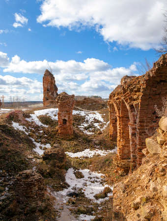 the ruins of an ancient fortress   located in the village of   Golshany  Belarus