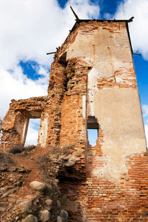 the ruins of an ancient fortress, located in the village of Golshany , Belarus. Castle 17th century Stock Photo