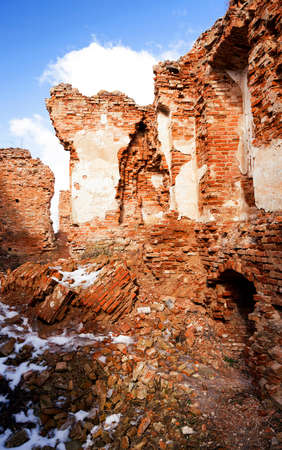 ruination: the ruins of an ancient fortress, located in the village of Golshany , Belarus. Castle 17th century Stock Photo