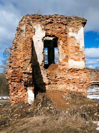 ruination: the ruins of an ancient fortress, located in the village of Golshany, Belarus. winter