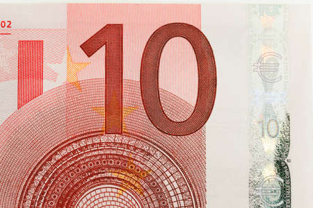 ten: part of the banknote ten euros. Photographed close up. Stock Photo