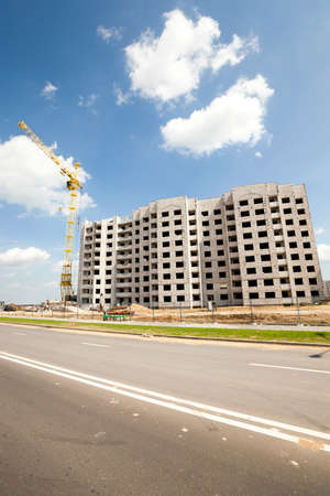 constructional: construction site on which to build high-rise buildings Stock Photo