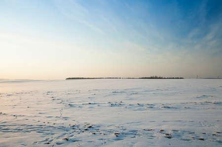 冬の季節の農業分野。フィールドは雪が降った後の雪で覆われています。 写真素材