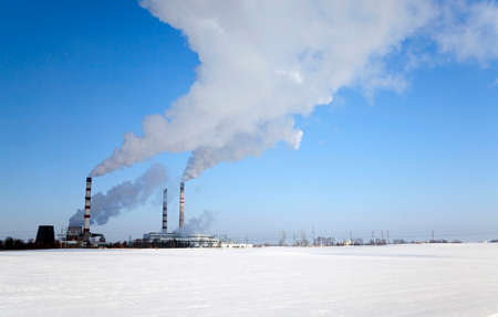 tall chimney: plant for the production of chemical products in the winter season.