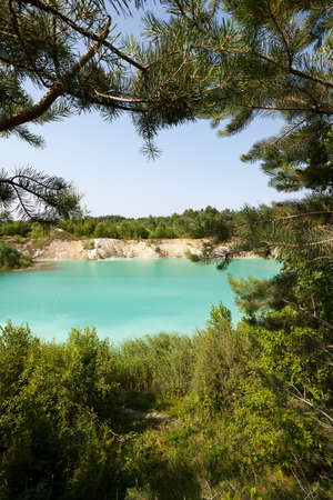 factitious: the artificial lake which appeared on cretaceous pits. Belarus Stock Photo