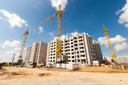 steel structure: construction site on which to build high-rise buildings Stock Photo