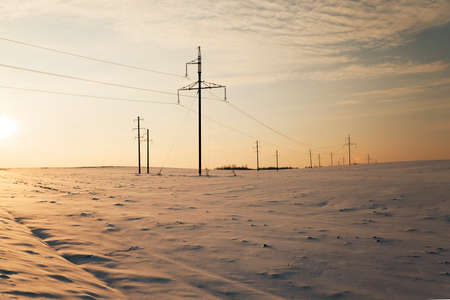 reveille: photographed electric lines which conduct electricity,  industry,