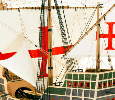 ketch: part of the photographed model sailing ship, old ship with sails