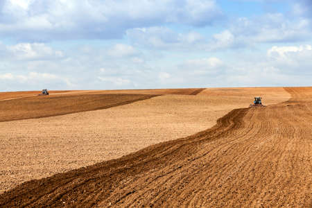 sowing: agricultural field, which is the springtime tractor plowed for sowing crops