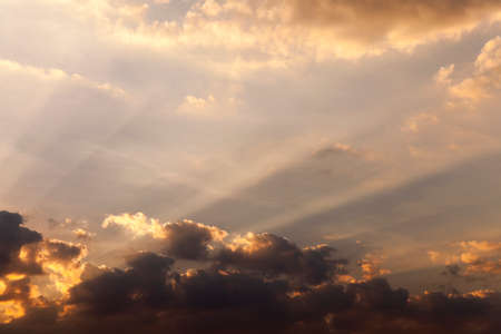 reveille: photographed close up the sky during sunset   colored clouds, defocused Stock Photo