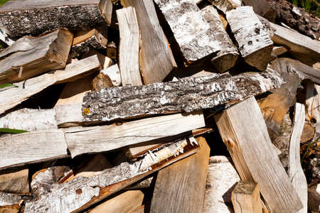 timber harvesting: timber harvesting for lighting stoves, harvesting in nature, the old wood Stock Photo