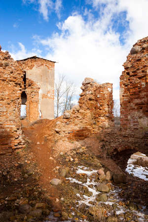 ruination: the ruins of an ancient fortress   located in the village of   Golshany  Belarus
