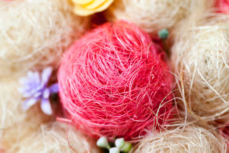 material flower: photographed close-up of an artificial tree made of sisal,