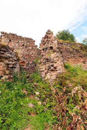disrupted: the ruins of an ancient fortress, located in the village of Krevo, Belarus.