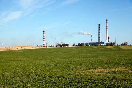 factory farm: chemical works the factory, located next to the farm field where the crop is grown
