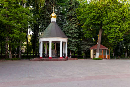 a small chapel in a small park in Gomel. Belarus.