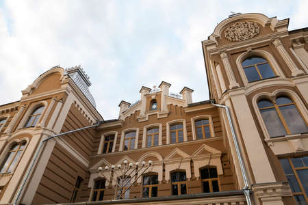 hasidism: photographed close-up of the synagogue in the town of Grodno, Belarus, the building after renovation