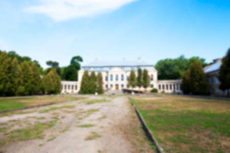 18th: abandoned old crumbling building in the village Svyatsk, Belarus, the Palace of the 18th century, Defocus