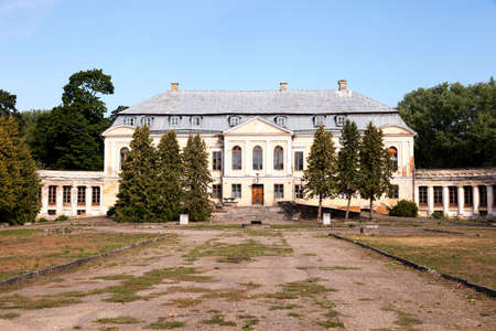 18th: abandoned old crumbling building in the village Svyatsk, Belarus, the Palace of the 18th century