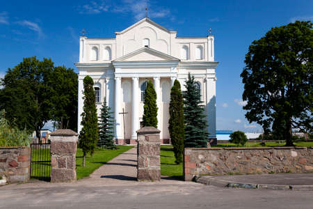 located: Catholic Church  built in 1785-1787 years , located in Ostrovec, Belarus, Church of Saints Cosmas and Damian