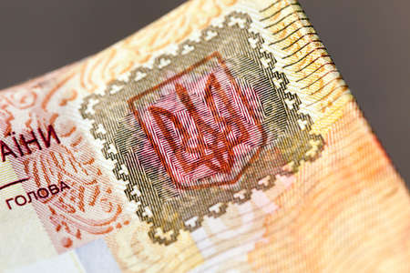 hryvna: photographed close-up of one hundred Ukrainian hryvnia, small depth of field