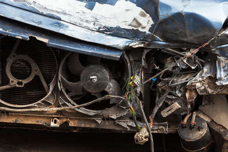 careless: photographed close-up of the car after the accident on the road. Stock Photo