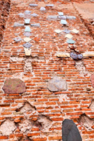photographed close-up of the old church, crumbling wall, Stock Photo