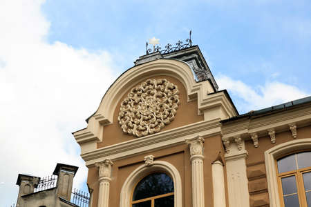 hasidism: photographed close-up of the Grodno synagogue. Synagogue at the time of restoration Stock Photo