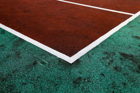level playing field: photographed close up with artificial coated markings on the stadium Stock Photo