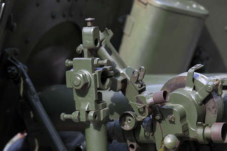 old styled: photographed close-up of the old Soviet gun for combat operations, Stock Photo