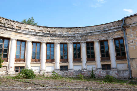 crumbling: abandoned crumbling ancient palace in the village Svyatsk, Belarus, the Palace of the 18th century,
