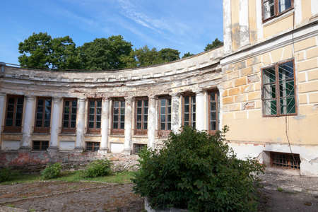 18th: abandoned crumbling ancient palace in the village Svyatsk, Belarus, the Palace of the 18th century,