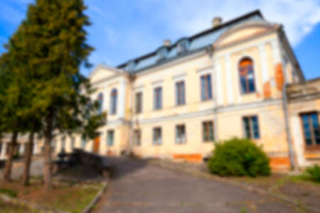 crumbling: abandoned old crumbling building in the village Svyatsk, Belarus, the Palace of the 18th century, Defocus