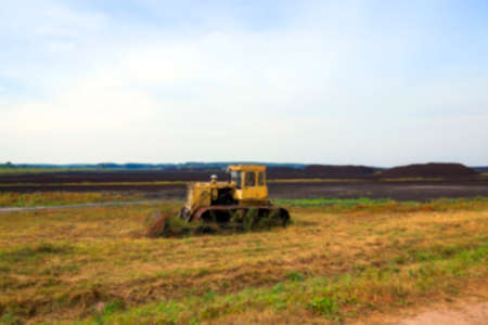 turba: a field in which is carried out peat extraction, Defocus Foto de archivo