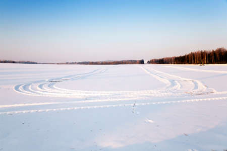 snowlandscape: covered with white snow (snow-covered) field in winter Stock Photo