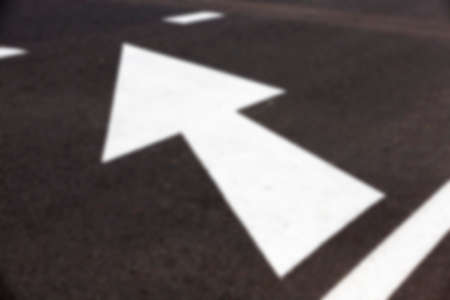 photographed markings on the road, which regulates the movement of participants, defocus