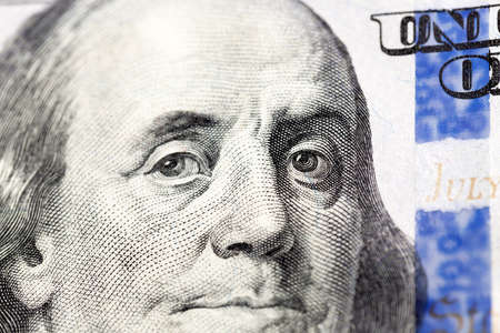 photographed close-up of American paper money worth one hundred dollars, the new American bil Stockfoto