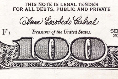 bil: photographed close-up of American paper money worth one hundred dollars, the new American bil Stock Photo