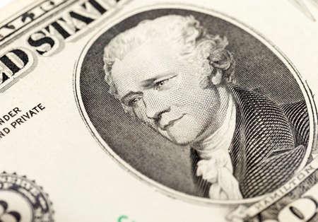 alexander hamilton: photographed close-up American dollars, small depth of field, banknote worth ten dollar Archivio Fotografico
