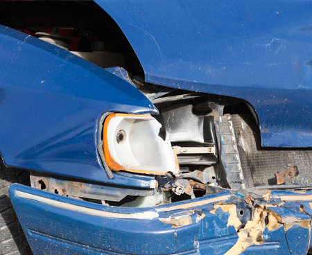 photographed close up of the car after a road accident