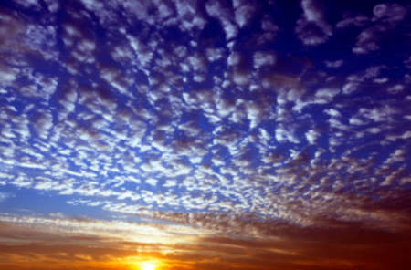 photographed close-up color the sky with various clouds during sunrise, sunset,