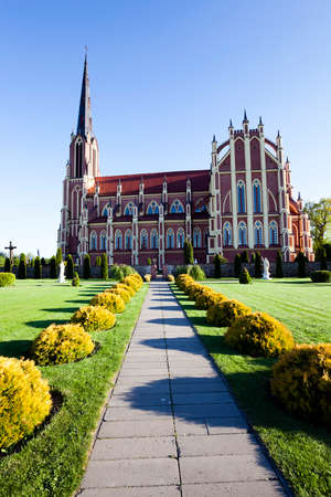 gothic revival style: Catholic Church of the Holy Trinity, located in the village of Gervyaty. Belarus. Built 1899-1903 years