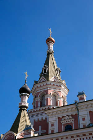 photographed close-up of the Pokrovsky Cathedral, located in Grodno, Belarus, Cathedral in honor of the Holy Virgin Stock Photo