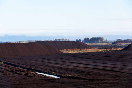 peaty: bog and the field on which the production is carried out in black peat mining, industry,