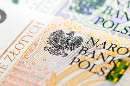 photographed close-up new Polish paper money. Banknotes worth two hundred zloty 스톡 콘텐츠