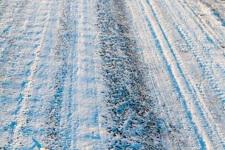 snowy road, winter Stock Photo