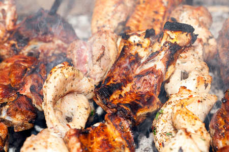skewers of meat, close-up