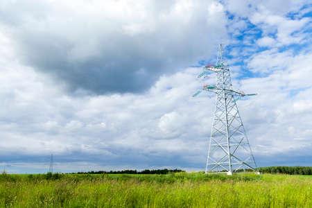 electric pole, field Stock Photo